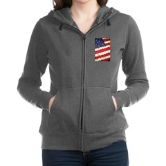 Abstract American Flag Women's Zip Hoodie