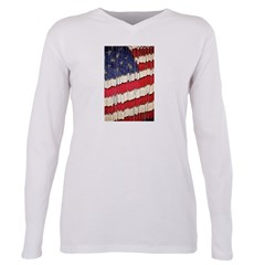 Abstract American Flag Plus Size Long Sleeve Tee