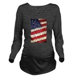Abstract American Flag Long Sleeve Maternity T-Shi