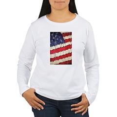 Abstract American Flag Long Sleeve T-Shirt