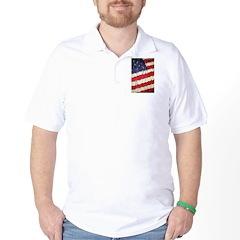Abstract American Flag Golf Shirt