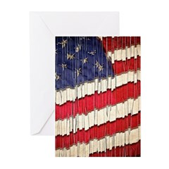Abstract American Flag Greeting Cards
