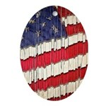 Abstract American Flag Oval Ornament