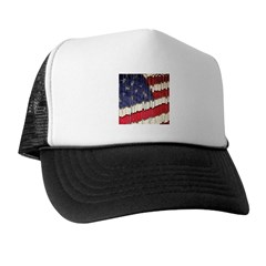 Abstract American Flag Trucker Hat