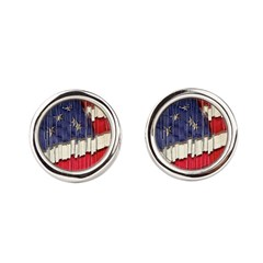 Abstract American Flag Round Cufflinks
