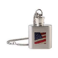 Abstract American Flag Flask Necklace