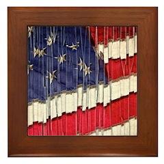 Abstract American Flag Framed Tile