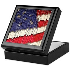 Abstract American Flag Keepsake Box
