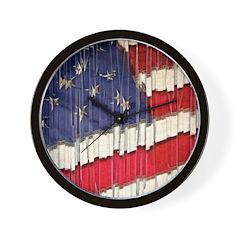 Abstract American Flag Wall Clock