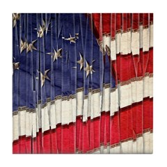 Abstract American Flag Tile Coaster