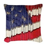 Abstract American Flag Woven Throw Pillow