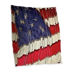 Abstract American Flag Burlap Throw Pillow