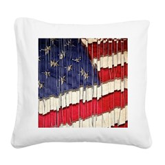Abstract American Flag Square Canvas Pillow