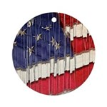 Abstract American Flag Round Ornament