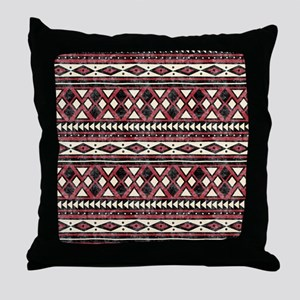 Black Red African Pattern Throw Pillow