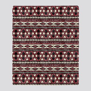 Black Red African Pattern Throw Blanket