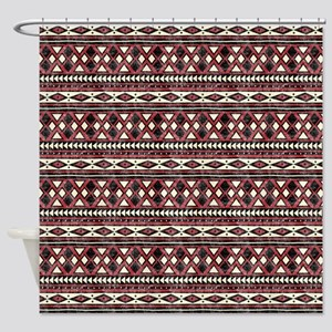 Black Red African Pattern Shower Curtain
