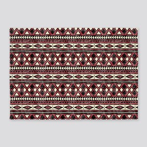 Black Red African Pattern 5'x7'Area Rug