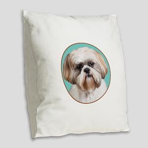 Shih Tzu Portrait Burlap Throw Pillow