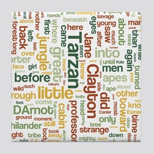 Tarzan Word Cloud Tile Coaster
