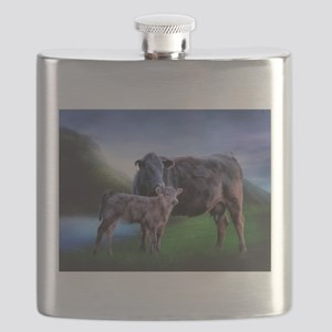 Black Angus Cow and Calf Flask
