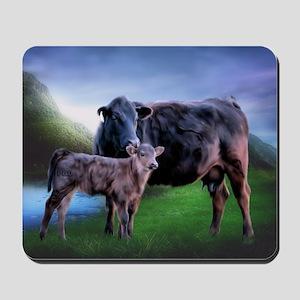 Black Angus Cow and Calf Mousepad