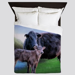 Black Angus Cow and Calf Queen Duvet