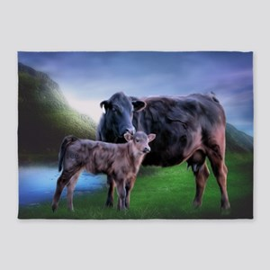 Black Angus Cow and Calf 5'x7'Area Rug