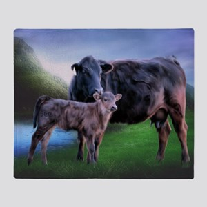 Black Angus Cow and Calf Throw Blanket