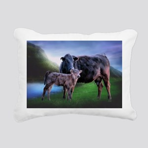 Black Angus Cow and Calf Rectangular Canvas Pillow
