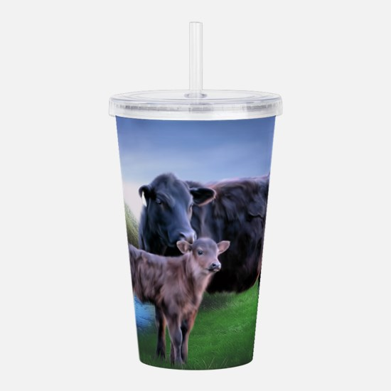 Black Angus Cow and Ca Acrylic Double-wall Tumbler