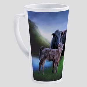 Black Angus Cow and Calf 17 oz Latte Mug