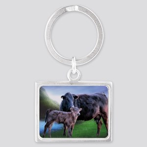 Black Angus Cow and Calf Keychains