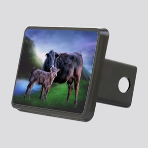 Black Angus Cow and Calf Rectangular Hitch Cover