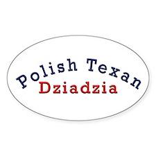 Polish Texan Dziadzia Oval Sticker