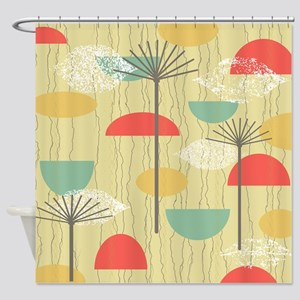 Mid Century Modern Barkcloth Patter Shower Curtain