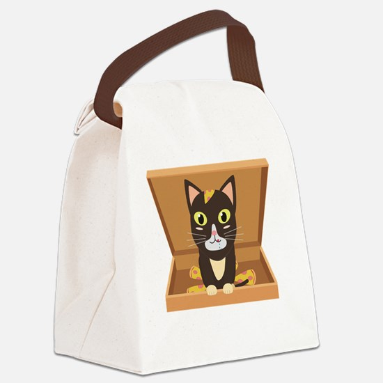 Cat in a pizza box Canvas Lunch Bag