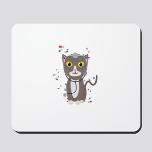 Cat with medical equipment Mousepad