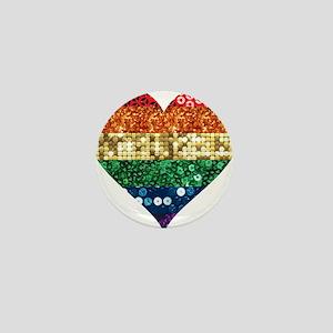 lgbt rainbow heart Mini Button
