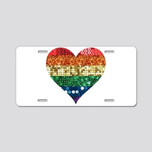 lgbt rainbow heart Aluminum License Plate