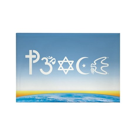 Peace-OM on earth Day Rectangle Magnet (100 pack)