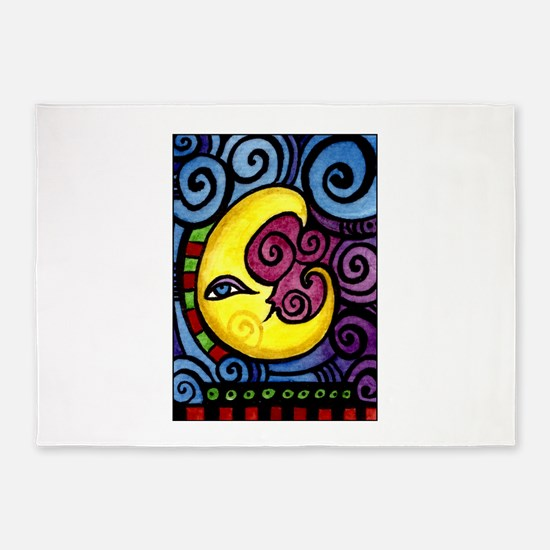 Swirly Blue Moon 5'x7'Area Rug