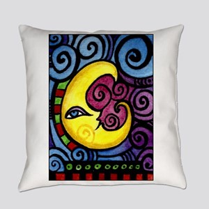 Swirly Blue Moon Everyday Pillow