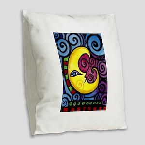 Swirly Blue Moon Burlap Throw Pillow