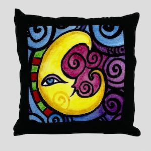 Swirly Blue Moon Throw Pillow
