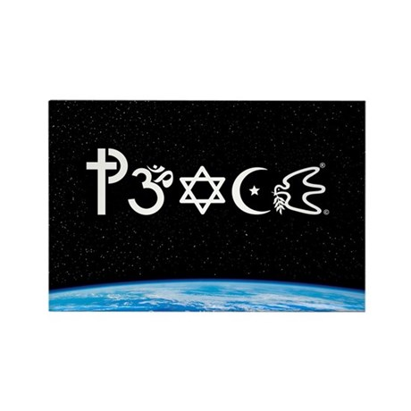 Peace-OM on earth at nite Rectangle Magnet (100 pa