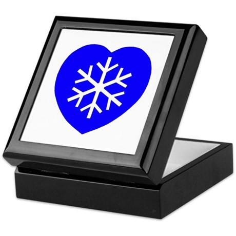 Love Blue Snowflake Heart Keepsake Box