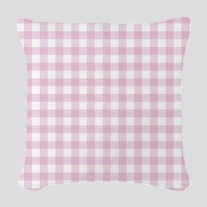 Gingham in pink Woven Throw Pillow
