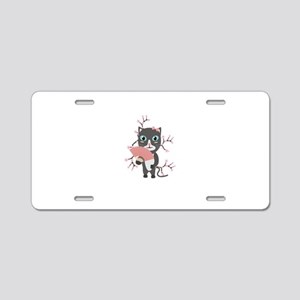 Japanese cat with cherry bl Aluminum License Plate