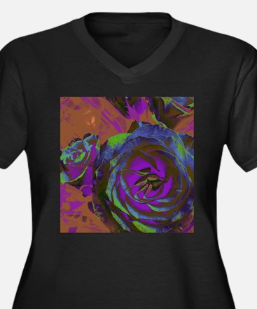 Outrageous Purple Rose Plus Size T-Shirt